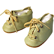 SOLD Vintage doll shoes pale green oilcloth lace up  2 1/4 inch