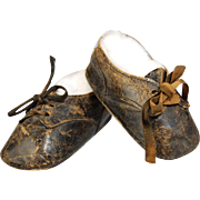 SOLD Old leather doll shoes lace up worn condition   3 inch long