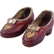 Antique doll shoes heart motif red leather shoes stack heel doll size Ruby Slippers 4 inch sal
