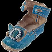 SOLD Single tiny doll shoe Keystone robin's egg blue leather size 1