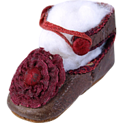 SOLD Tiny single French doll shoe CM  size 1 ruby ribbon rosette  1.5 inch