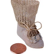 Tiny single German doll shoe and orignal knit sock cream stiffened paper  1 3/4 inch