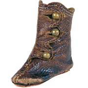 SOLD Single fashion doll leather LEFT boot brown leather 2 inch long