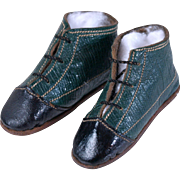 SOLD Old leather two-tone doll shoes teal and black long and narrow lace up  2.75 length 19th