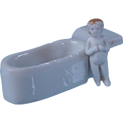 Tiny Frozen Charlotte pudding doll with added tub casket blonde ringlet hair  1 inch tall