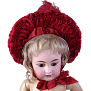 SALE PENDING Vintage raspberry velvet doll bonnet with feather and fabric flowers for doll wit