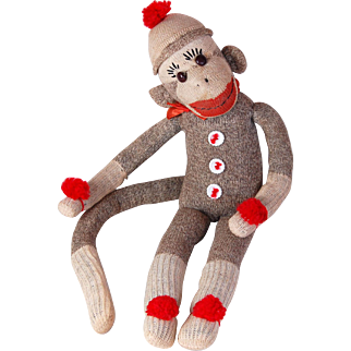 """Vintage sock monkey doll Rockford Red Heel shoe button eyes adorable expression very well made 19"""""""