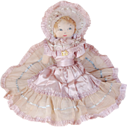 Vintage cloth bed doll painted face soft-stuffed sock lilac and blue satin dress net lace wire