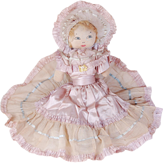 Vintage cloth bed doll painted face soft-stuffed sock lilac and blue satin dress net lace wired bonnet