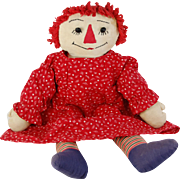 Vintage Raggedy Ann hand made cloth doll button eyes red yarn hair applied nose 19 inch