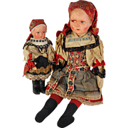 Pair Czechoslovakia Czech sister dolls painted features papiermache cloth regional costumes 8.