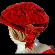 SOLD Vintage red velvet handmade small doll bonnet  3 inch wide
