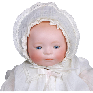 SALE Amberg New Born Babe bisque head baby doll  L A & S working crier good celluloid hands blue sleep eyes 11 inch