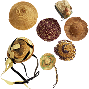 SOLD Group of old small straw and woven doll bonnets for study pattern or repair
