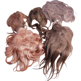 Lot 5 vintage human hair pieces falls for doll wigs gorgeous strawberry blonde brunettes