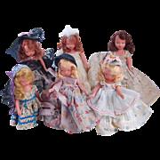 SALE 6 vintage NASB bisque Nancy Ann Storybook Dolls frozen leg 5.5 and 6 ...