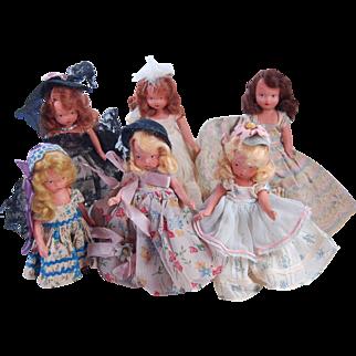 SALE 6 vintage NASB bisque Nancy Ann Storybook Dolls frozen leg 5.5 and 6 inches