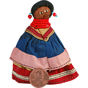 SALE Miniature Seminole Indian doll hand crafted palmetto fiber coral and blue beads 3 inches