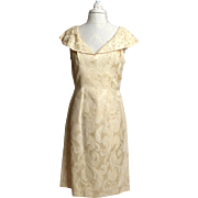 SALE Late 1950s/Early 1960s Lilli Diamond of California Cream Ivory Silk Brocade Dress
