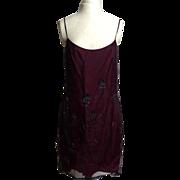 SALE Circa 1980s Shelli Segal Laundry Maroon Beaded Floral Dress