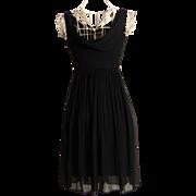 SALE Circa 1950s Suzy Perette Silk Chiffon Black Dress