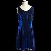 SALE Circa 1980s SharAidNites Blue Velvet Rhinestone Dress