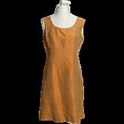 SALE Circa 1940s Silk Burnt Orange Sheath Dress