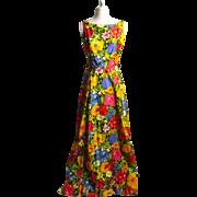 SALE Circa 1970s Cotton Floral Maxi Dress