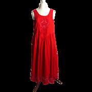 SALE Circa 1970s Mona Lisa Red Rockabilly Sundress