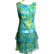 SALE Circa 1980s Custom-Made Floral Mini Dress