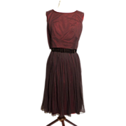 SALE Circa 1950s L'Aiglon Chocolate Brown Party Dress