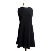 SALE Circa 1980s Victor Costa Black Formal Knee Dress with Pearls and Bow