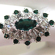 SALE 18K White Gold Electroplate Faux Emerald and Rhinestone Ring