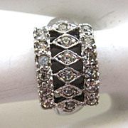 SALE Sterling Silver Architectural Rhinestone Ring