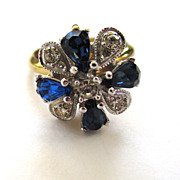 SALE Blue and Clear Rhinestone Floral Gold-Tone Metal Ring