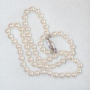 Unsigned Glass Faux Pearls with Silvertone Clasp