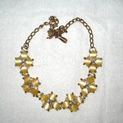 Unsigned Yellow Lucite Choker/Necklace