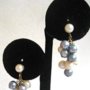 10K Bi-Color Cluster Cultured Pearl Earrings