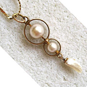 10K Yellow Gold Triple Cultured Pearl Pendant on 14K Chain