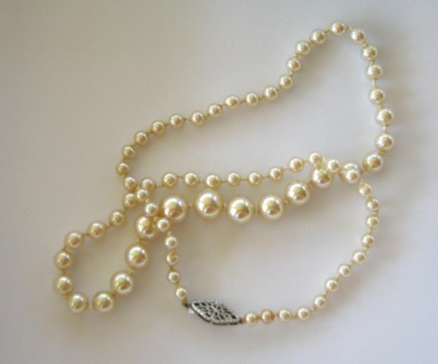 Faux Graduated Pearl Necklace with 10K Filigree Clasp