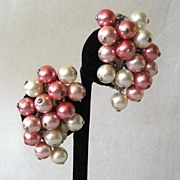 Unsigned Pink Plastic Bead Earrings