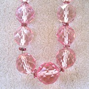 Pink Crystal Faceted Beads