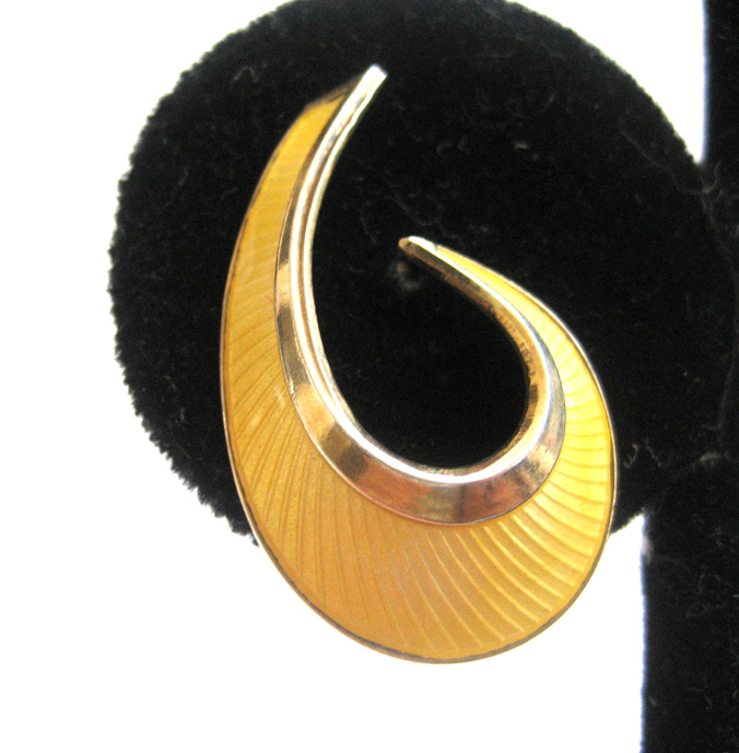 Bernard Meldah Sterling Silver Gilt Wash Yellow Enamel Norwegian Earrings