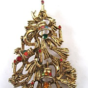 SALE PENDING Gold Tone Christmas Tree Brooch/Pin