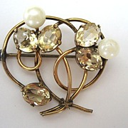 WRE Gold-filled Citrine and Pearl Brooch/Pin