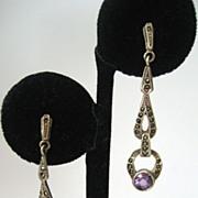 Sterling Marcasite Amethyst Earrings