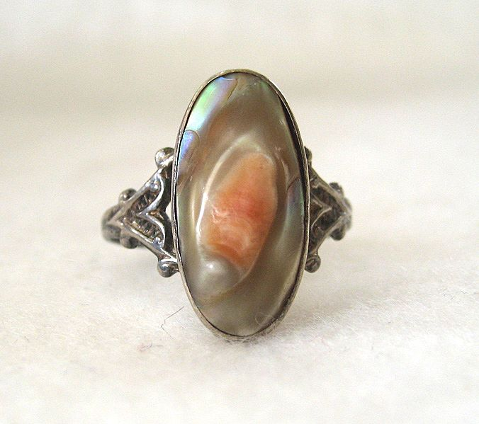 Sterling Silver Art Nouveau Blister Pearl Ring