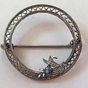Filigree Enamel Circular Floral Brooch/Pin
