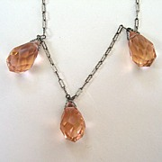 Art Deco Pink Crystal Drop Pendant