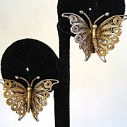 SALE Gilt 800 Silver Filigree Butterfly Earrings